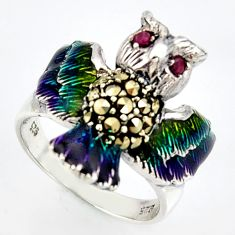 925 silver 0.22cts natural red ruby marcasite enamel owl ring size 6.5 c5809