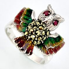925 silver 0.28cts natural red ruby marcasite enamel owl ring size 8.5 c5820