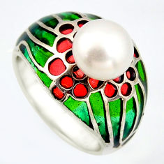 3.29cts natural white pearl marcasite enamel 925 silver ring size 7.5 c5823