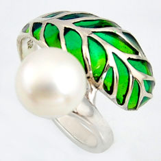 4.94cts natural white pearl enamel 925 sterling silver ring size 7.5 c5825