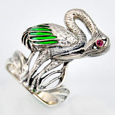 0.11cts natural red ruby enamel 925 sterling silver flamingo ring size 7.5 c5831