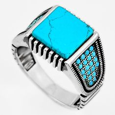 5.62cts fine blue turquoise 925 sterling silver mens ring jewelry size 9.5 c6004