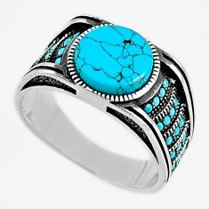 6.61cts fine blue turquoise 925 sterling silver mens ring size 11.5 c6005