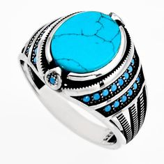 925 sterling silver 5.62cts fine blue turquoise mens ring jewelry size 11 c6009