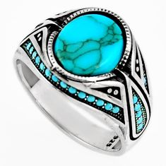 925 sterling silver 6.15cts fine blue turquoise mens ring size 11.5 c6013