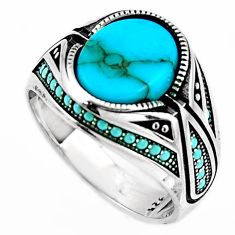 925 sterling silver 5.62cts fine blue turquoise mens ring jewelry size 10 c6019