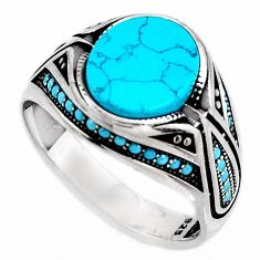 925 sterling silver 5.38cts fine blue turquoise mens ring size 11.5 c6027