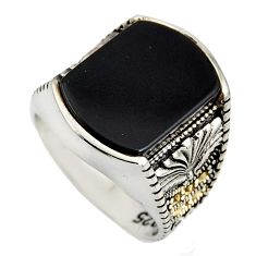 12.63cts natural black onyx marcasite 925 silver mens ring size 10 c6046