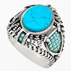 6.41cts fine blue turquoise 925 sterling silver mens ring jewelry size 11 c6049