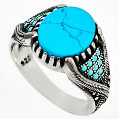 5.51cts fine blue turquoise 925 sterling silver mens ring jewelry size 9.5 c6052