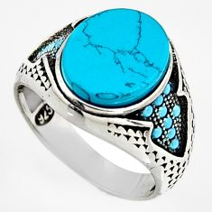 5.75cts fine blue turquoise 925 sterling silver mens ring jewelry size 8 c6055