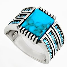925 sterling silver 5.93cts fine blue turquoise mens ring size 11.5 c6057
