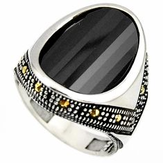 925 silver 13.04cts natural black onyx marcasite mens ring size 8.5 c6064