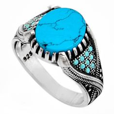 5.51cts fine blue turquoise 925 sterling silver mens ring size 10.5 c6079