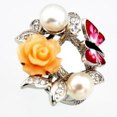 5.62cts natural white pearl topaz enamel 925 silver flower ring size 6.5 c6130