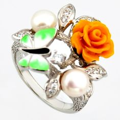 5.79cts natural white pearl topaz enamel 925 silver flower ring size 8 c6132