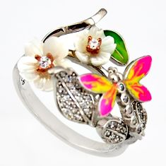 2.19cts natural white topaz enamel 925 silver butterfly ring size 8 c6138