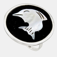12.66cts natural cameo on shell 925 sterling silver dolphin ring size 7.5 c6143