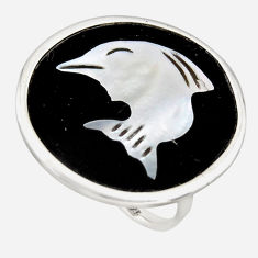 12.71cts natural cameo on shell 925 sterling silver dolphin ring size 6 c6145