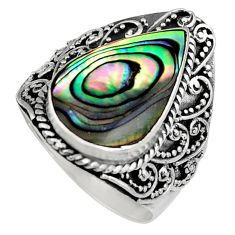 8.96cts natural green abalone paua seashell silver solitaire ring size 9 c6191