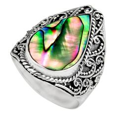9.44cts natural green abalone paua seashell silver solitaire ring size 8 c6198