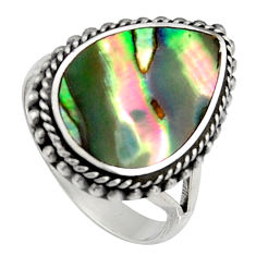 6.08cts natural abalone paua seashell 925 silver solitaire ring size 6.5 c6262