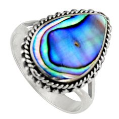 6.33cts natural green abalone paua seashell silver solitaire ring size 8 c6264