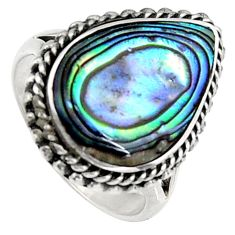5.81cts natural green abalone paua seashell silver solitaire ring size 6 c6267