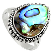 6.54cts natural green abalone paua seashell silver solitaire ring size 8 c6273