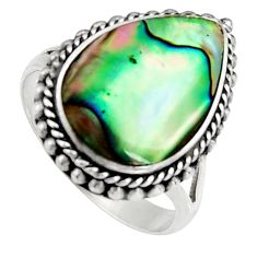 6.02cts natural green abalone paua seashell silver solitaire ring size 6.5 c6275