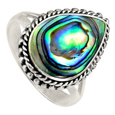 6.84cts natural green abalone paua seashell silver solitaire ring size 8.5 c6279