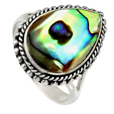 6.53cts natural green abalone paua seashell silver solitaire ring size 8 c6280