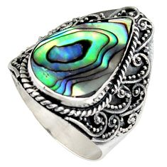 6.72cts natural abalone paua seashell 925 silver solitaire ring size 8 c6343