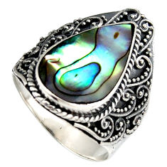 6.01cts natural green abalone paua seashell silver solitaire ring size 9 c6345