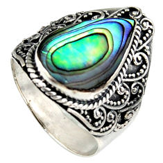 6.53cts natural abalone paua seashell 925 silver solitaire ring size 9 c6346