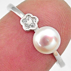 1.77cts natural white pearl topaz 925 sterling silver ring size 6.5 c6413