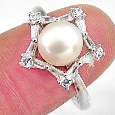 4.89cts natural white pearl topaz 925 sterling silver ring jewelry size 8 c6419