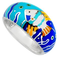 6.68gms multi color enamel 925 sterling silver fish ring jewelry size 8 c6486