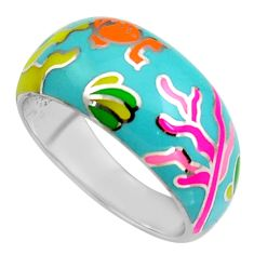 6.89gms multi color enamel 925 sterling silver ring jewelry size 9 c6522
