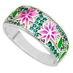 1.37cts green topaz quartz enamel 925 sterling silver ring jewelry size 9 c6526