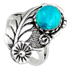 925 sterling silver 3.24cts natural green chrysocolla ring jewelry size 7 c6544