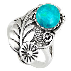 925 sterling silver 3.13cts natural green chrysocolla round ring size 7 c6548