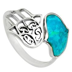 3.02gms green chrysocolla enamel 925 silver adjustable ring size 9 c6552