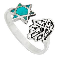 925 silver 2.89gms green chrysocolla enamel adjustable ring size 9 c6554