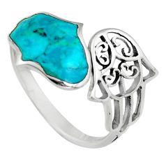 2.69gms green chrysocolla enamel 925 silver adjustable ring size 8 c6556