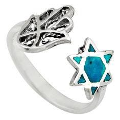 2.48gms chrysocolla 925 silver adjustable hand of god hamsa ring size 7.5 c6561