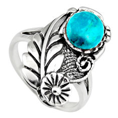 3.13cts natural green chrysocolla 925 sterling silver ring jewelry size 9 c6562