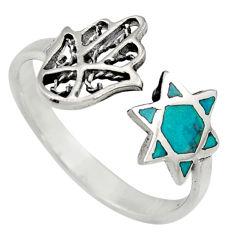 2.89gms chrysocolla 925 silver adjustable hand of god hamsa ring size 9.5 c6565