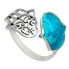 2.68gms chrysocolla enamel 925 silver adjustable hand of god ring size 8 c6566