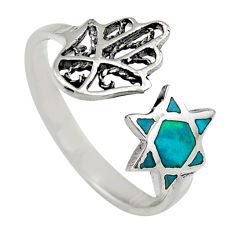 2.69gms chrysocolla enamel 925 silver adjustable hand of god ring size 8 c6572
